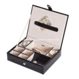 Faux Leather Jewelry Watch Necklace Box Tray Valet in Black