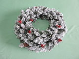 Plastic Home Decoration Artificial Christmas Wreath 60cm PVC