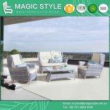Outdoor Wicker Sofa Set with Cushion Rattan 2-Seat Sofa Garden Wicker Sofa Wicker Weaving Single Sofa Leisure Wicker Sofa