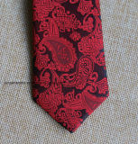 Poly Woven Red Paisley Necktie for Wedding