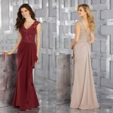 Beaded Lace and Chiffon Mother Dress Ladies Wine Evening Gown