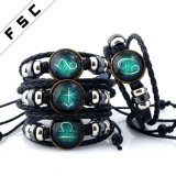 Unisex Christmas Gift 12 Constellations Braided Making Leather Zodiac Bracelet