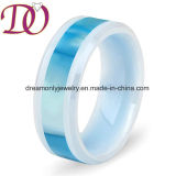Custom Inlay Shell Design /Carbon Fibre &Koa Wood Ceramic Ring Engaedment Wedding Ring