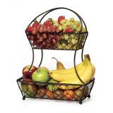 Double Tiers Classical Metal Fruit Basket