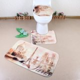 Washable Comfortable Non-Slip Toilet and Bath Custom Printed 3 Piece Bathroom Mat Set