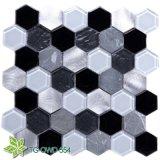 Hexagon Glass Mosaic Stainless Steel Mixed Aluminium (TG-OWD-554)