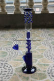 Grace Glass-Coiled and Dome Perc with Ice and Spot Glass Water Pipe Green& Blue