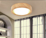 Modern Metal and Glass LED Ceiling Lamp Lights Finished in Wood Grain Painting for Bedroom, Dia35cm