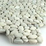 White Interlocking Polished Pebble Tile Garden Decoration