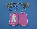 Help Me Fight Pink Ribbon Metal Dog Tag Necklace