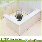 White Color L Shape Reception Table