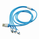 High-End 3 in 1 USB Cable Charger Data Micro 8 Pin Lightning Type-C Mobile Phone USB Flat Cable for iPhone 7 Plus 6s Samsung S8 Nokia MacBook Oppo
