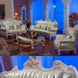 Antique Leather Sofa with Wood Table (D502A)