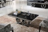 2017 Luxury Style Black Tempered Glass Stainless Steel Coffee Table
