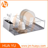 Chrome Plated Dish Rack with Stainless Steel Cutlery Cup and Drain Board