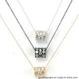 3A White CZ 925 Silver Pendant with Charms (P4967)