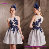 Elegant Short Cocktail Dress with Two-Tone Lace Bodice