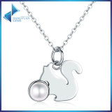 925 Sterling Silver Cute Animal Squirrel Story Simulated Pearl Pendant Pearl Necklaces