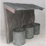 Tin&Wooden Mixed Garden Flower Pot Garden Decoration