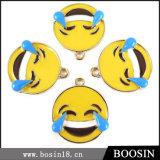 Fashion Custom Lovely Yellow Enamel Emoji Face Metal Charm