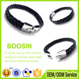 Wholesale Custom Mens Braided Wide Blanks Charm Leather Bracelet