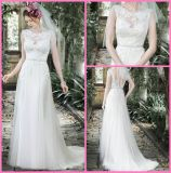 Sheer Boat Neckline Bridal Gowns Mint Tulle Lace Wedding Dresses W176281