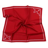 Bright Red Solid Square Silk Printed Scarf Custom Logo Bespoke Design (LS-38)