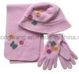 Customized Lady Knitting Winter Warm Polar Fleece Set