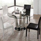 Round Dining Table with Tempered Glass