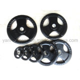 Three Handgrips Rubber Black Olympic Weight Plates