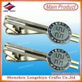 Shiny Silver Plated Epoxy Circle Casting Brand Parallel Bars Tie Clip