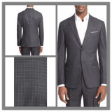 OEM Factory Price Customized Two Button Notch Lapel Men′s Cashmere Wool Plaid Suit