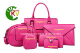 Professional Handbag Supplier -Latest Saffiano PU Ladies Handbag Set (Tote bag + Crossbody + Clutch Bag + Wallet + Pouch) -Kch303