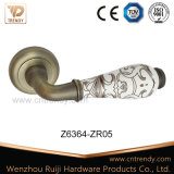 Ceramic Zinc Alloy Wooden Lever Door Handles with Pattern (Z6364-ZR05)