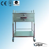 Stainless Steel Hospital Medical Medicine Trolley (Q-13)