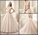 Cap Sleeves Bridal Ball Gowns Pink Color Accent Wedding Dresses 2017 Z7008