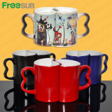 Freesub Sublimation Ceramic Color Changing Couple Magic Mug