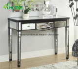 Vanity Design Black Wood Glass Mirrored Console Table with Caved Shape