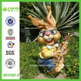 Environmental Friendly Rock N' Roll Rabbit Resin Statue (NF11192-3)