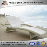 Well Furnir White Chaise Lounges Beds Sun Beds with Cushion