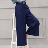 2016 New Design Blue Palazzo Trousers for Women Ladies Wide Leg Pants
