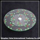 Round Tempered Glass Plate with Screen Printing Pattern