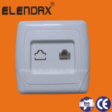 EU Style Flush Mounting Wall Phone Socket Rj11 (F3007)