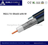 Rg11 Cable Tri- Shield, PVC/PE Jacket, Galvanized Steel Wire Messenger for Aerial Distribution Line in CATV / CCTV