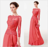 Coral Lace Bridesmaid Dresses A-Line Chiffon Mother of The Bridal Formal Evening Dress M224