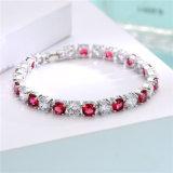 Fashion Jewelry Charm Colorful Stones Rhodium Plated Women Bracelet