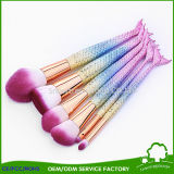 Rainbow Color Cosmetic Synthetic Hair Make up Brushes Mermaid Makeup Brushes Fish Tail Brush