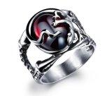 Gemstone Rings Women Vintage Retro Oval Channel Setting Stainless Steel Wedding Ruby Rings Women Gemstone Jewelry Gifts