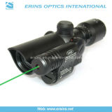 Compact 1.5-5X32 Rifle Scope Red Green Mil-DOT Reticle with Green Laser Sight