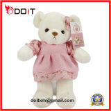 White Plush Teddy Bear Toy with Pink Dress
